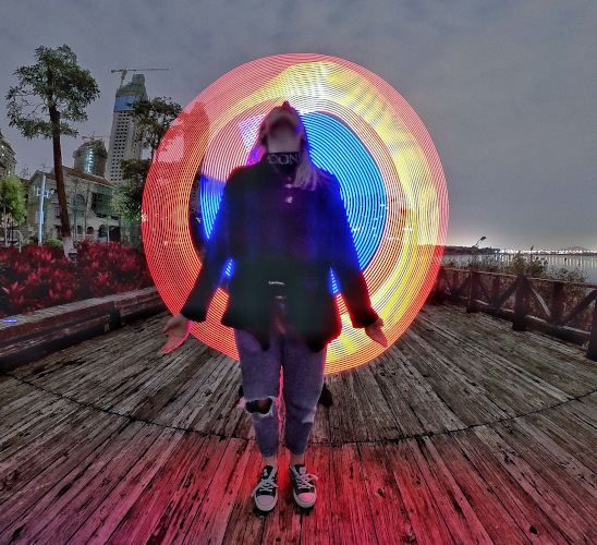 A light painting with a flashlight