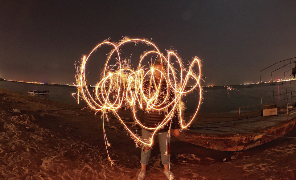 Light painting with sparklers