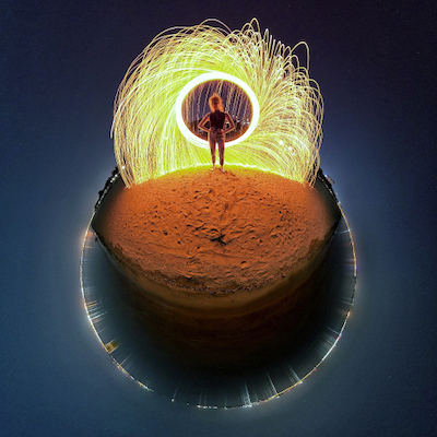 A light painting with the Tiny Planet effect
