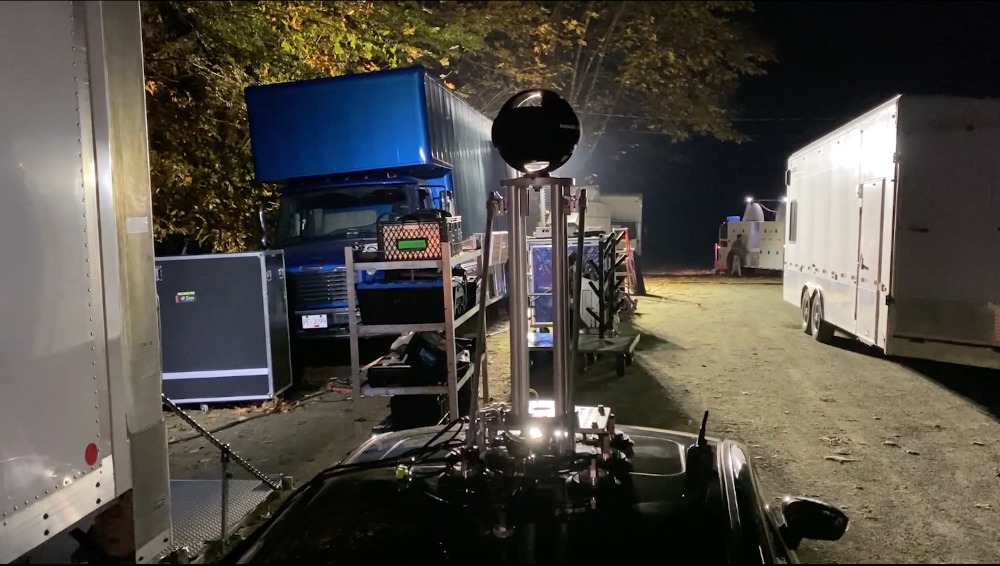 On set with Insta360 Titan at night time, shooting footage for use on a virtual set.