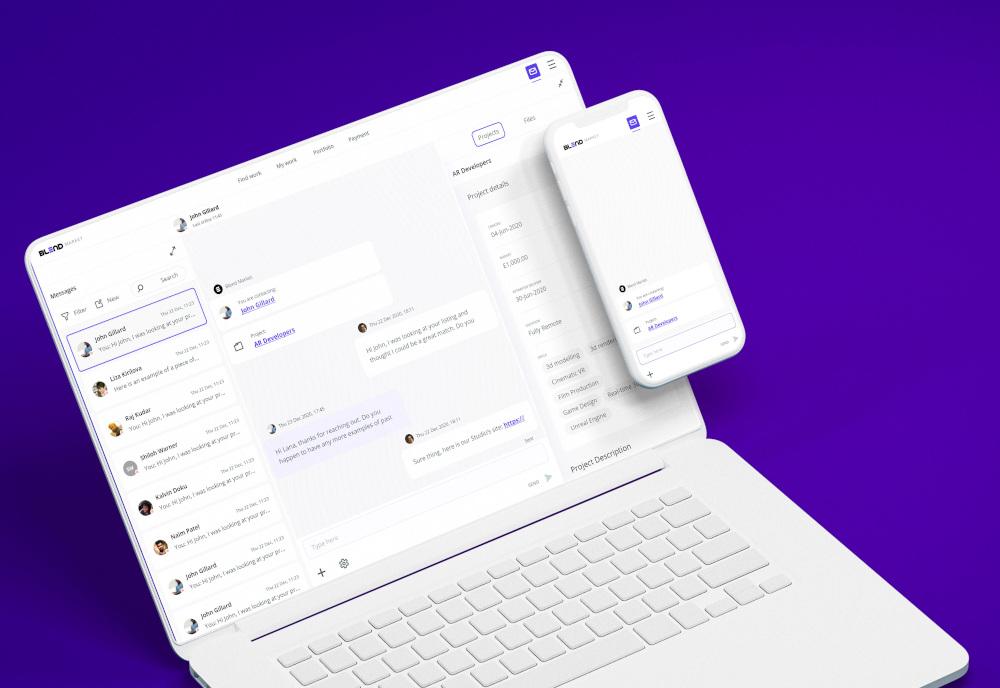 An image of the mobile and desktop interface for the VR jobs platform, Blend Market.