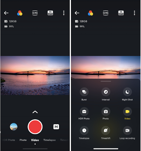 Shows the new shooting interface on the Insta360 app, with an improved design and more efficient workflow.